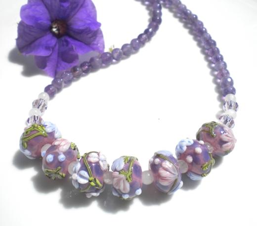 Necklace.LilacFloralLampworkBeads.AmethystSemiPrecious.closeup
