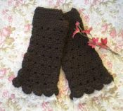 Fingerless TeaGloves,DkBrown