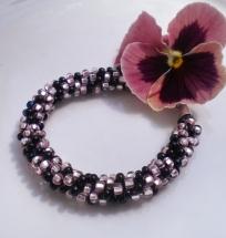 Kumihimo Bracelet.Pink.Black