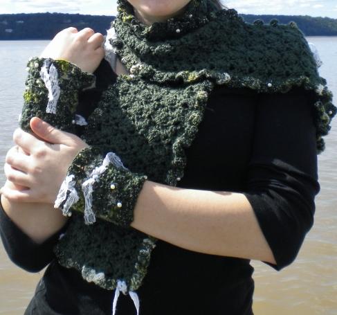 Crocheted ArtYarn Scarf.cuffs