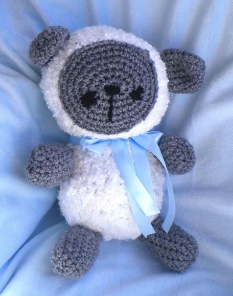 Teddy Bear.Gray.Blue Ribbon