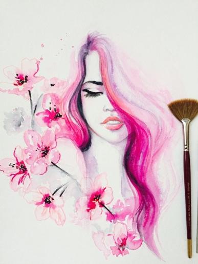 ValentinesDay.LanasArt.CherryBlossom FashionArt 1.14.17