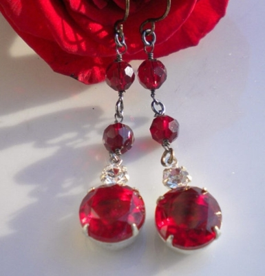 ValentinesDay.MagdaleneJewels.Vintage Red Garnet Earrings 1.14.18