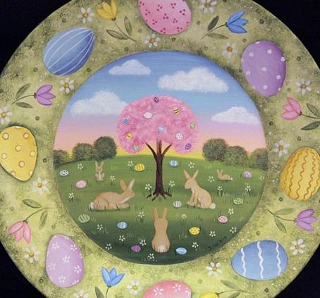 Easter.RavensBendFolkArt.EasterPlate 3.4.18